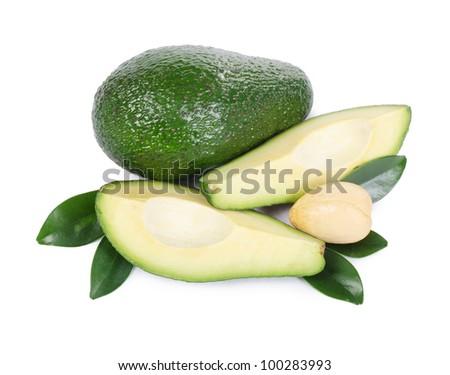 The fresh avocado isolated on white background - stock photo