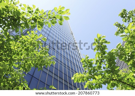 The Fresh Green Of Osaka Near Umeda,Kita-Ku - stock photo