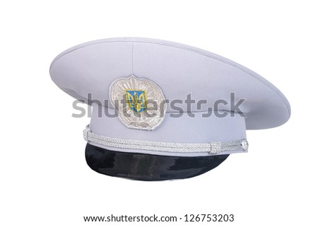 The front cap of the Ukrainian militia, on a white background - stock photo