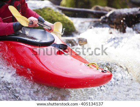 The front of a whitewater kayak - stock photo