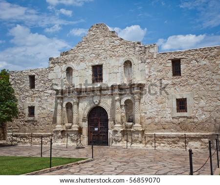 the front of the Alamo in San Antonio Texas - stock photo