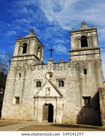 The front of the historic Mission Concepcion near San Antonio, TX, USA - a Spanish mission built in the 1700's. - stock photo
