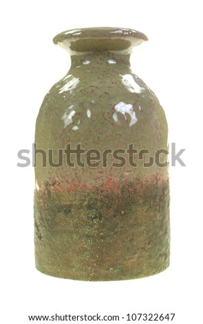 The front view of a stoneware vase. - stock photo