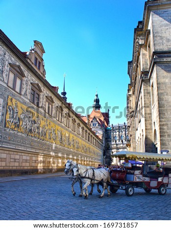 The Fuerstenzug (giant mural) in Dresden, Germany - stock photo