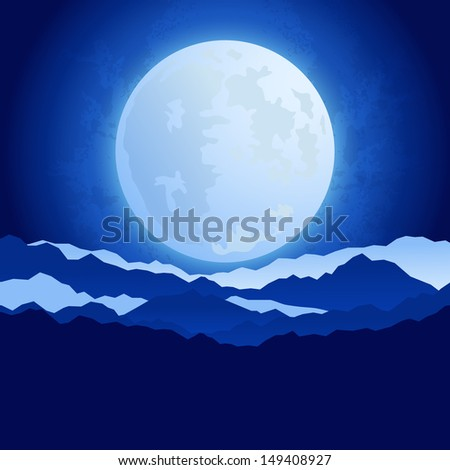 The full moon in the night sky background raster image - stock photo