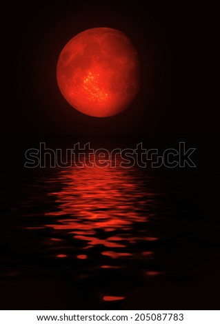"""The full moon in the night sky  """"Elements of this image furnished by NASA"""". - stock photo"""