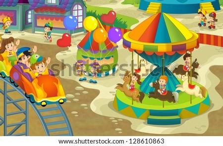 The funfair - illustration for the children - stock photo