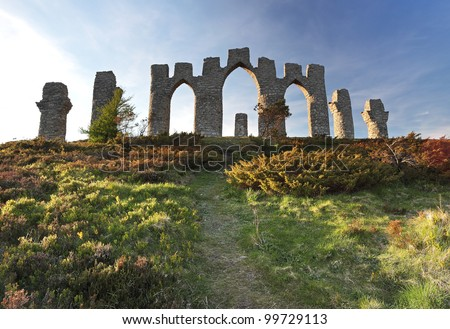 The Fyrish monument from fyrish hill in Evanton, Scotland - stock photo