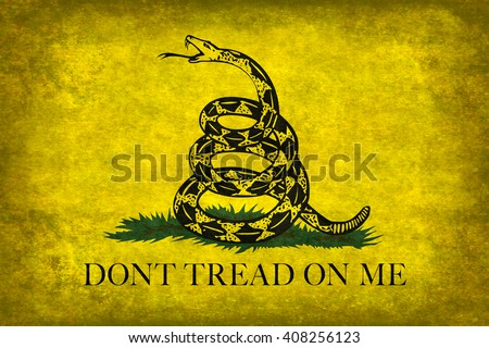 The Gadsden, Don't Tread On Me Flag, with distressed grungy vintage treatment - stock photo