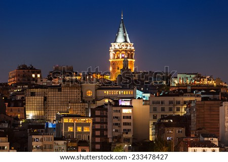 The Galata Tower (Galata Kulesih) �¢?? called Christea Turris by the Genoese is a medieval stone tower in Istanbul, Turkey - stock photo
