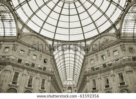 The Galleria Vittorio Emanuele in Milano, Italy. - stock photo
