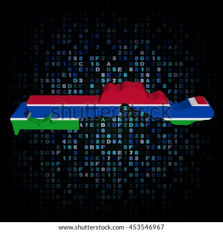 The Gambia map flag on hex code 3d illustration - stock photo