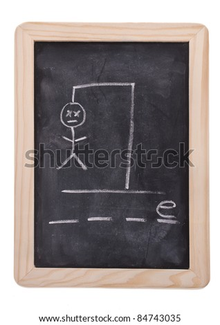 The game hangman on a blackboard with the words GAME not spelled out as hangman hangs. - stock photo