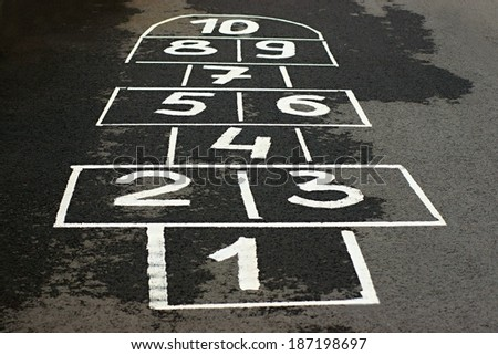 The game hopscotch for children in yard on asphalt - stock photo