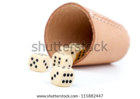 The game of dice, on white background - stock photo