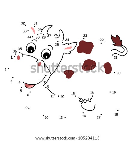 the game of the dots, the cow - stock photo