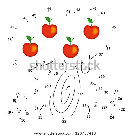 the game of the dots, tree of apples - stock photo