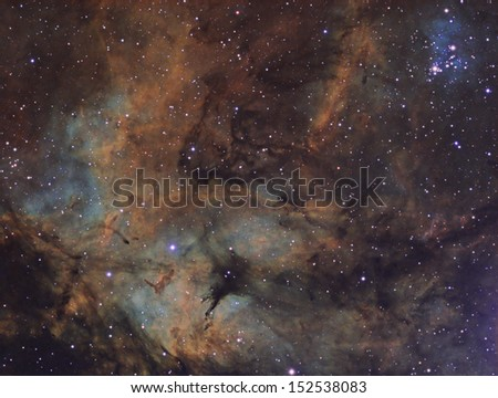 The Gamma Cygni Nebula: An emission nebula about 3,700 light years away in the constellation Cygnus. - stock photo