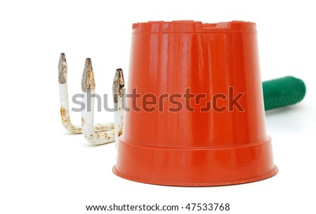 the garden tools in spring - stock photo