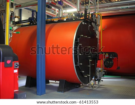 The gas steel boiler - stock photo