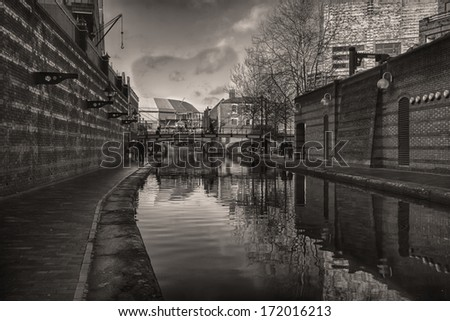 The Gas street Basin Tow path in Birmingham City Centre - stock photo