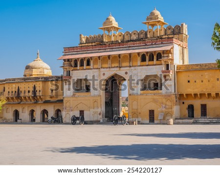 The Gate to Amber Fort in Jaipur, Rajasthan, India - stock photo