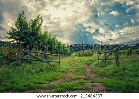 The gate to the hill under clouds sky - stock photo
