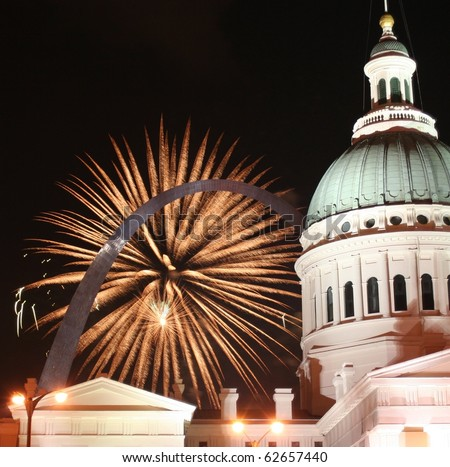 The Gateway Arch and fireworks: golden arch - stock photo