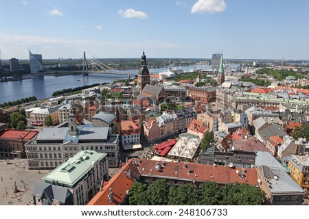 The general view of Riga, Latvia - stock photo