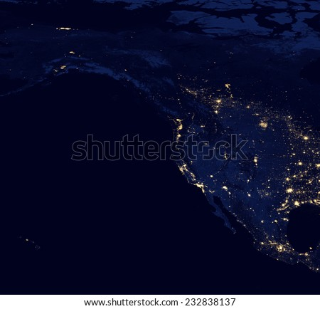 The geographic distribution of night time lights in the United States, Canada, Mexico .Elements of this image are furnished by NASA - stock photo