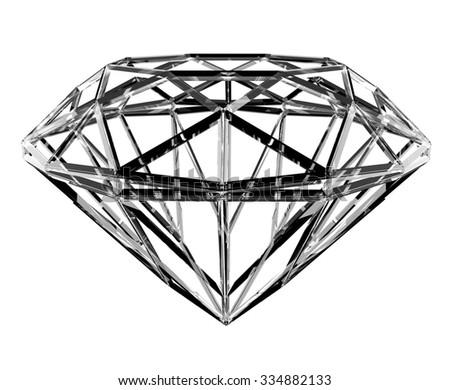 The geometrical shape of the diamond lattice - stock photo