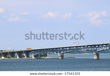 the George P Coleman bridge crossing the York River looking out to the Chesapeake Bay - stock photo