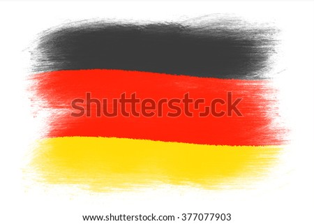 The German flag - Painted grunge flag, brush strokes. Isolated on white background. - stock photo