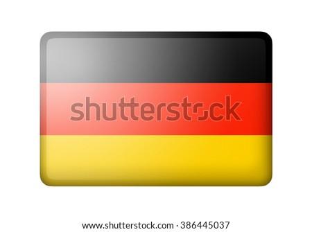The German flag. Rectangular matte icon. Isolated on white background. - stock photo