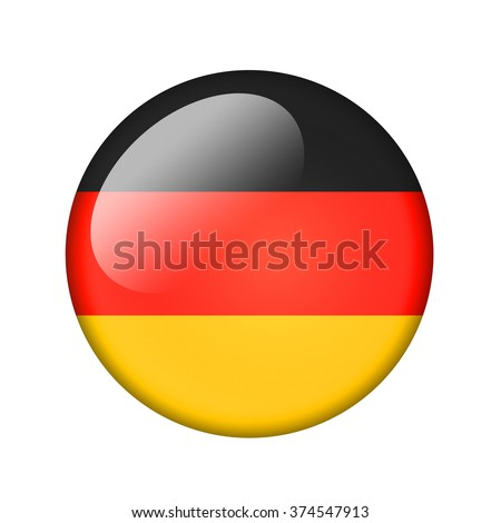 The German flag. Round glossy icon. Isolated on white background. - stock photo