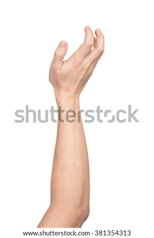 the gesture of taking something in hand isolated on white background - stock photo