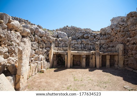 The Ggantija temples, Gozo, megalithic temples in Malta, Oldest free-standing building/temple in the world. Oldest neolithic temple built thousands of years before the pyramids - stock photo