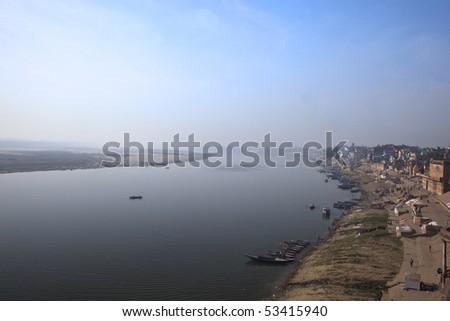 The ghats in Varanasi,India. - stock photo