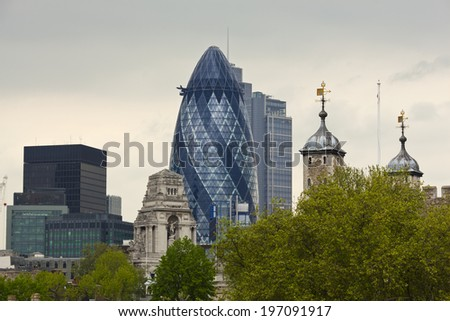 The Gherkin and The City of London - stock photo