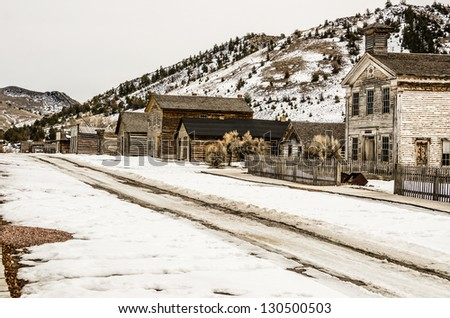 The ghost town of Bannack, Montana, is deserted on this winter day in Bannack State Park. - stock photo