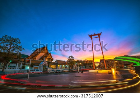 The Giant Swing with Temple of Buddha at Twilight Time (Bangkok, Thailand) - stock photo