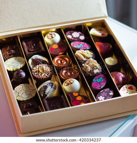 The gift box of assorted chocolates - stock photo