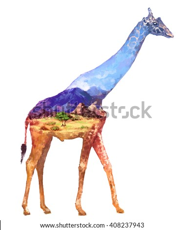 The giraffe on white background double exposure illustration. Retro design graphic element. This is illustration ideal for a mascot and tattoo or T-shirt graphic. Stock digital illustration - stock photo
