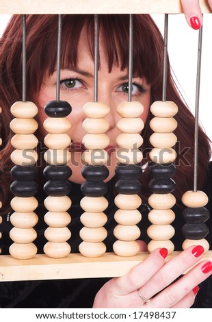 The girl and abacus. On a white background - stock photo
