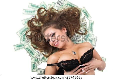 The girl and is a lot of money. A series of photos - stock photo