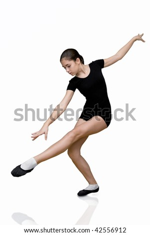 The girl gymnast on a white background. It is isolated - stock photo