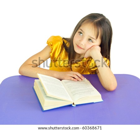 The girl has reflected behind the book - stock photo