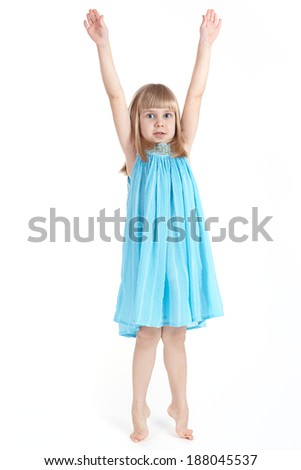 The girl in a blue dress - stock photo