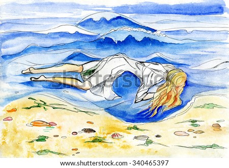 The girl in a white dress lying in water. Drawing watercolor. - stock photo