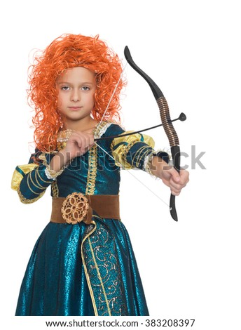 The girl in the costume of a hunter pulls the string from the bow.Close-up - Isolated on white background - stock photo